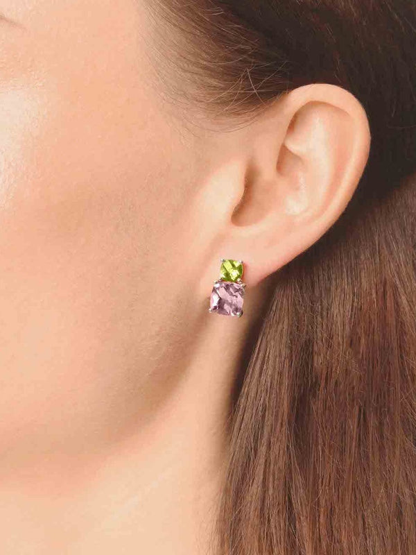 Peridot and pink amethyst studs - Finnly's