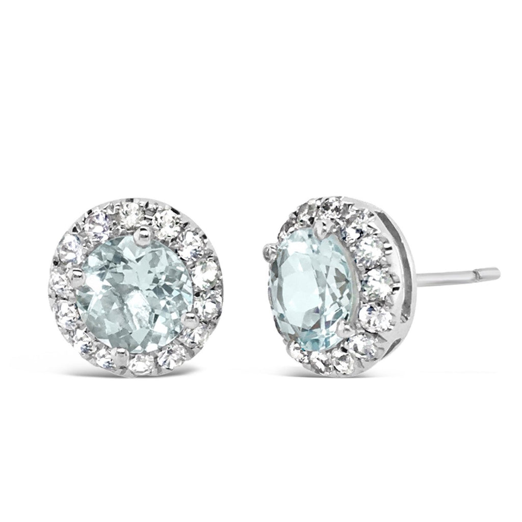 Barcelona Aquamarine and White Sapphires Earrings - Finnly's