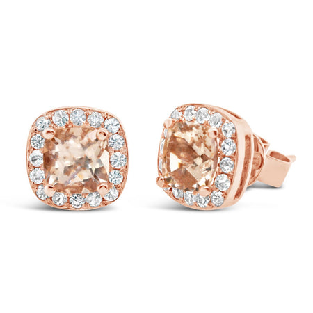 Barcelona Morganite and White Sapphires Studs Earrings