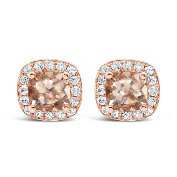 Morganite and white sapphires studs