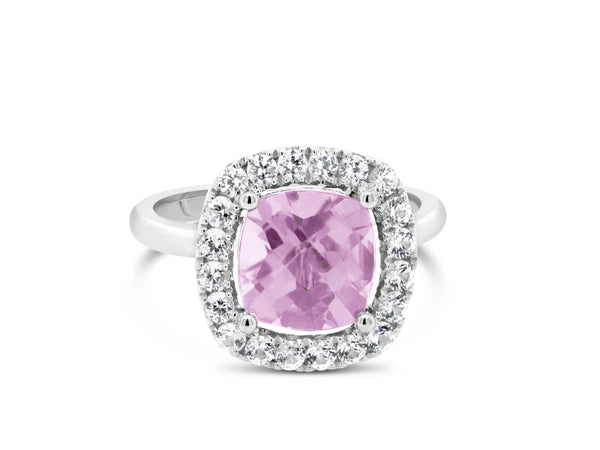 Barcelona Petit Pink Amethyst Cocktail Ring with halo White Sapphires