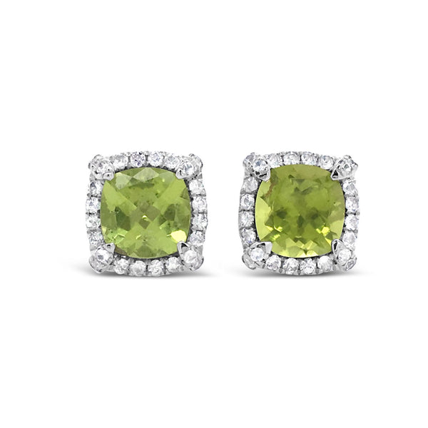 Barcelona Peridot and White Sapphires Studs Earrings