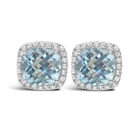 light topaz studs in checkerboard cushion cut surrounded by halo small white sapphires