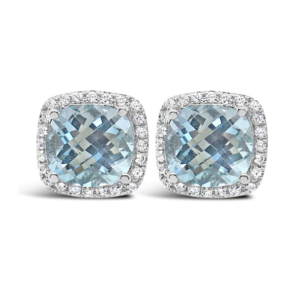 Barcelona Natural Blue Topaz and White Sapphires Studs Earrings - Finnly's