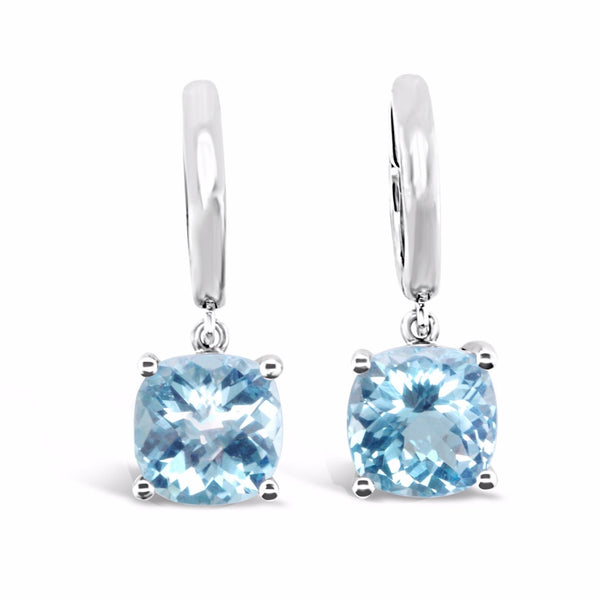 Barcelona light blue topaz dangle earrings in white gold