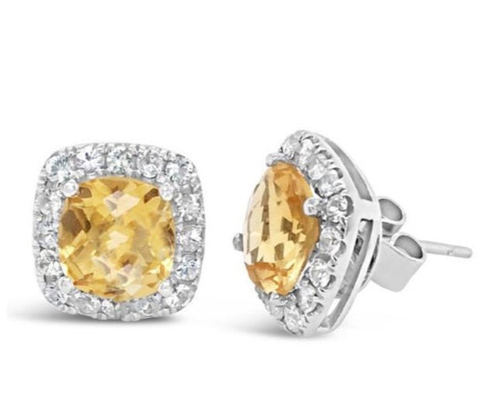 Barcelona citrine and white sapphire studs