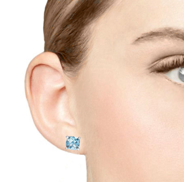 Barcelona Natural Blue Topaz and White Sapphires Studs Earrings