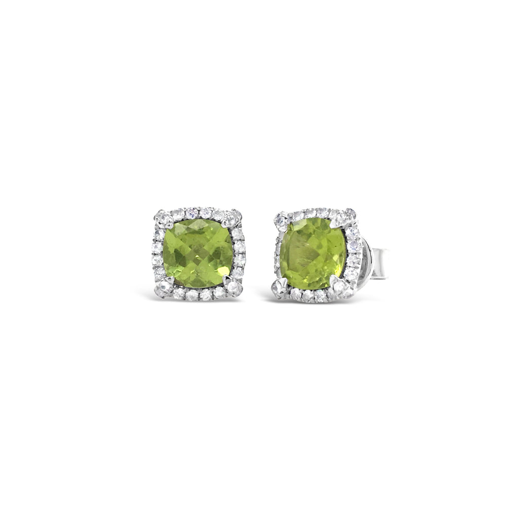 peridot studs in cushion checkerboard cut surrounded by white sapphires