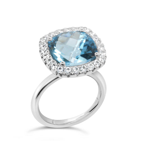 Barcelona Petit Blue Topaz Cocktail Ring with White Sapphires