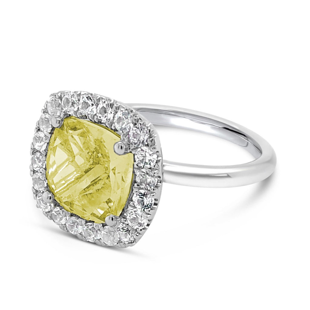 Barcelona Petit Cocktail Ring with Lemon Quartz and  halo White Sapphires