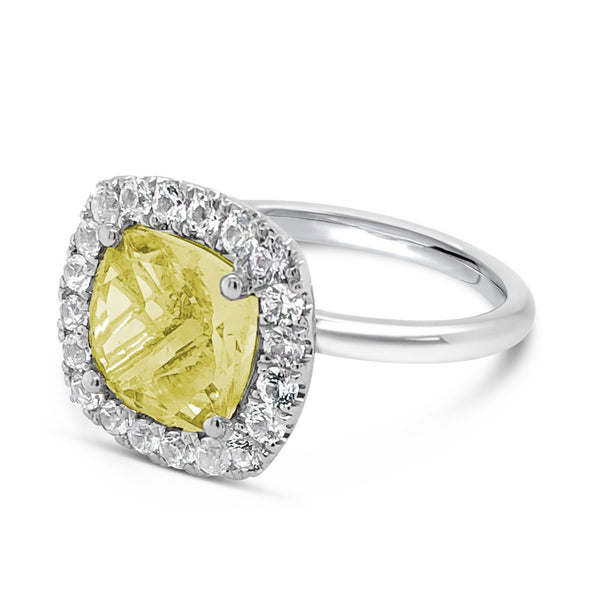 Barcelona Petit Cocktail Ring with Lemon Quartz and White Sapphires - Finnly's