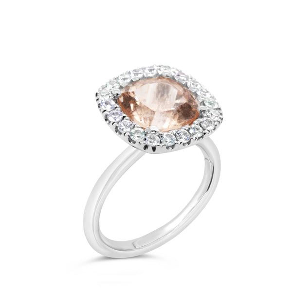 Barcelona Petit Cocktail Ring with Morganite and White Sapphires - Finnly's