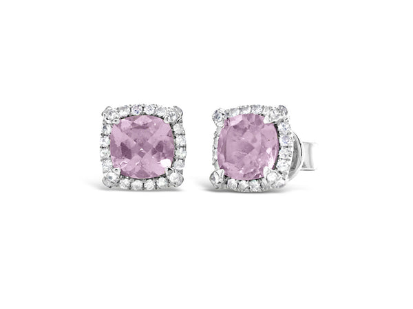 Pink Amethyst and White Sapphires Studs Earrings - Finnly's
