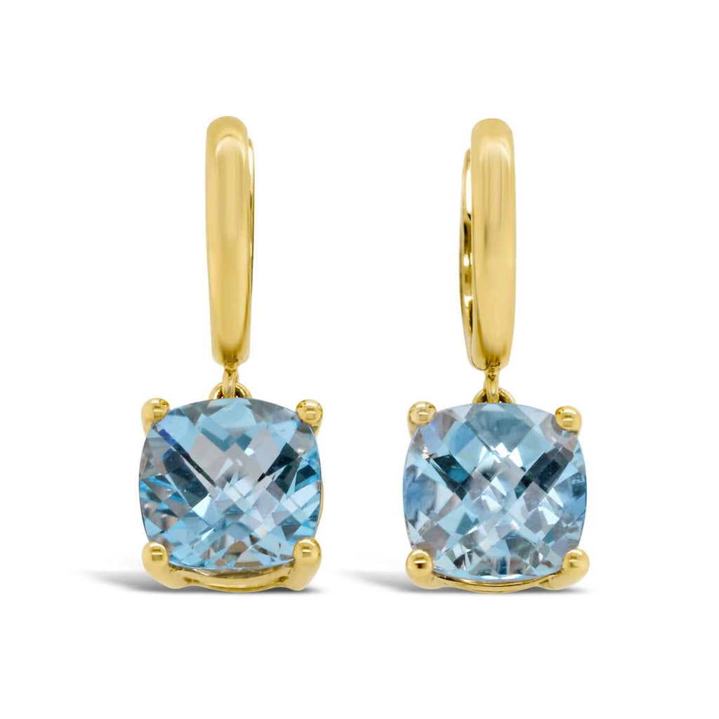 Finnly's barcelona blue topaz hoops in yellow gold