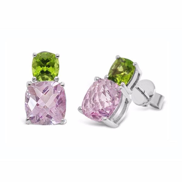 Barcelona Pink Amethyst and Peridot  Earrings - Finnly's