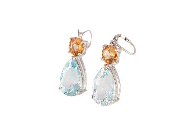 Natural Blue Topaz with Spessartine Garnet  Dangle Earrings
