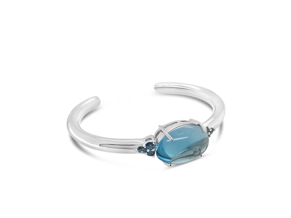 natural blue topaz cabochon bangle with London blue topaz in sterling silver