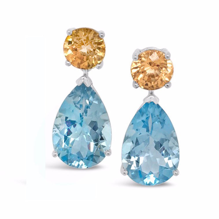 Mandarine Garnet and Blue Topaz Dangle Earrings - Finnly's
