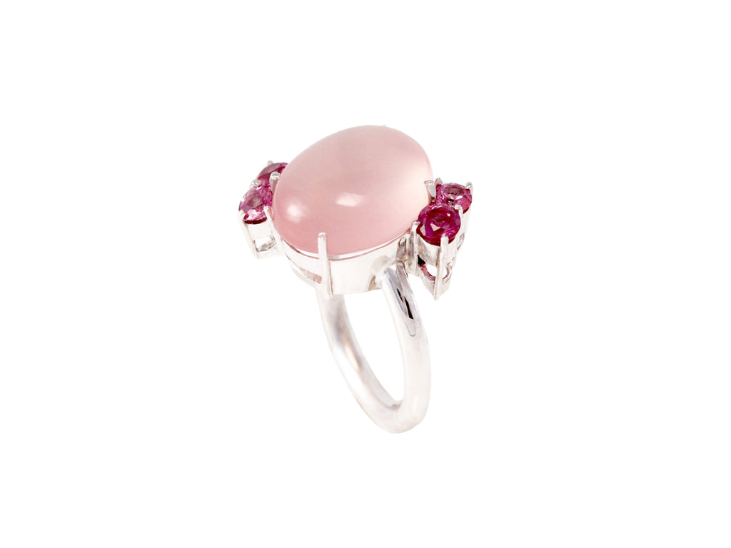 Pomellato style Rose Quartz Cabochon and Pink Sapphires Flower Ring
