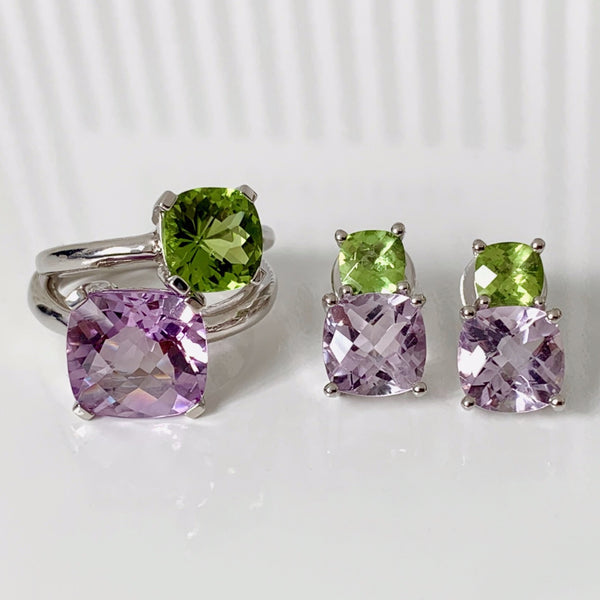 Barcelona Pink Amethyst and Peridot  Earrings