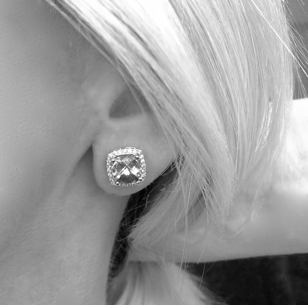 Barcelona Citrine and White Sapphires Studs Earrings - Finnly's