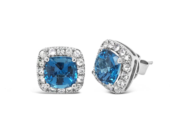 Barcelona London Blue Topaz and White Sapphires Studs - Finnly's