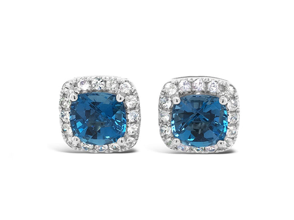 Barcelona London Blue Topaz and White Sapphires Studs