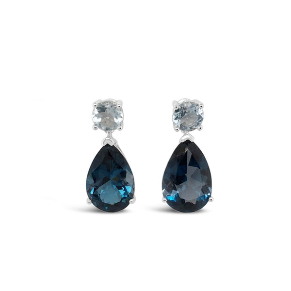 London Blue Topaz and Aquamarine Dangle Earrings
