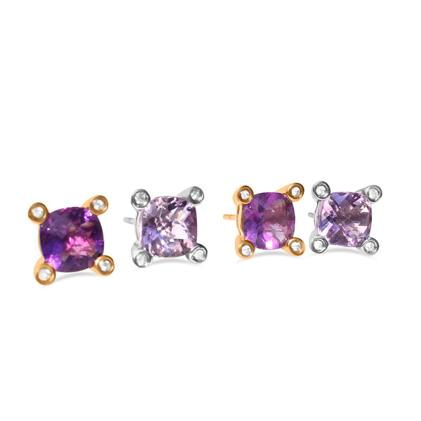 Barcelona Amethyst and White Sapphires Studs - Finnly's