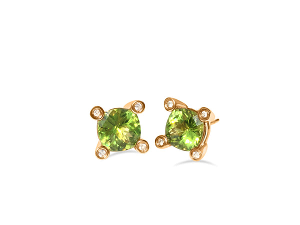 Barcelona Peridot and White Sapphires Studs, sterling Silver 18k rose gold plated
