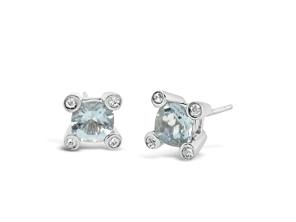 Barcelona Aquamarine and White Sapphires Studs