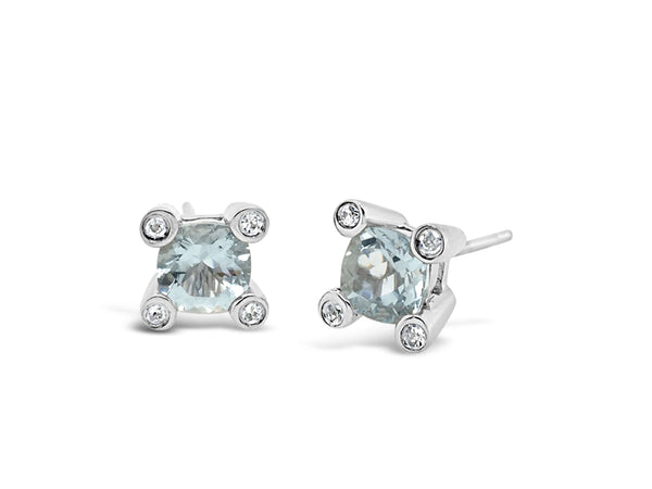 Barcelona Aquamarine and White Sapphires Studs - Finnly's