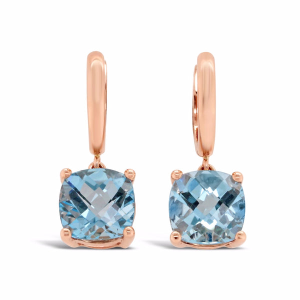 light blue topaz dangle earrings in rose gold
