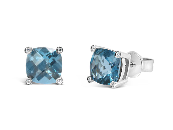 London blue topaz studs in cushion checkerboard cut with 4 white sapphires in each corner