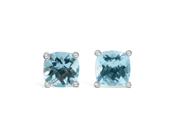natural blue topaz studs in cushion checkerboard cut with 4 white sapphires on each corner