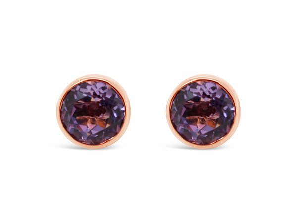 Capri amethyst studs set in 18k rose gold