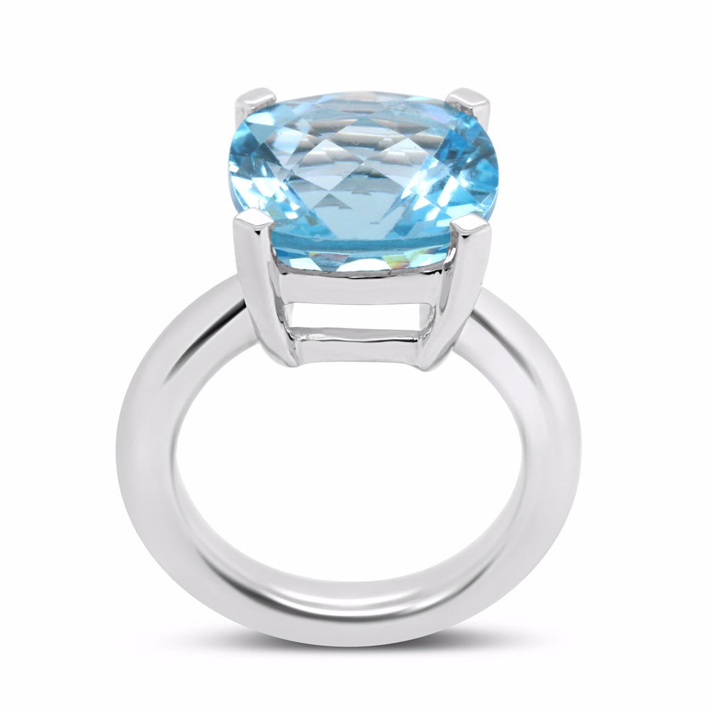 Blue topaz solitaire in checkerboard cut set in sterling silver or gold