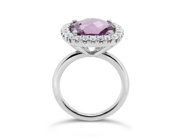 Barcelona Petit Rose de France Cocktail Ring with halo White Sapphires