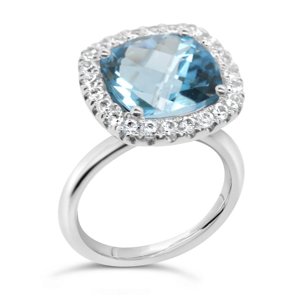 Barcelona Blue Topaz Cocktail Ring - Finnly's