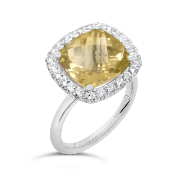 Barcelona Citrine cocktail ring with white sapphires