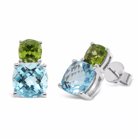 Peridot and blue topaz studs in cushion checkerboard cut