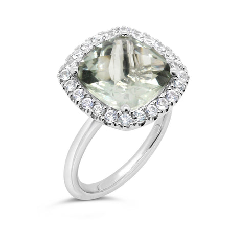 Barcelona green amethyst with white sapphires cocktail ring