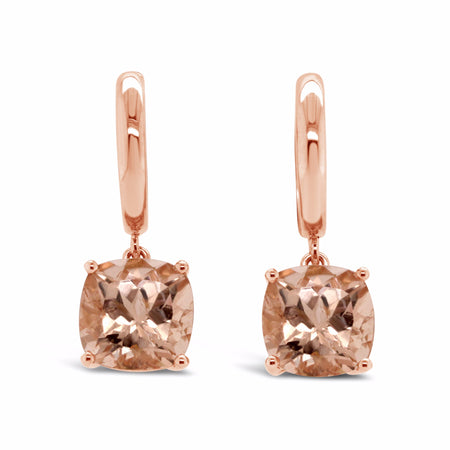 Morganite dangle earrings in cushion cut set in rose gold