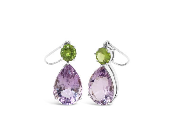 Rose de France Amethyst and Peridot Dangle Earrings