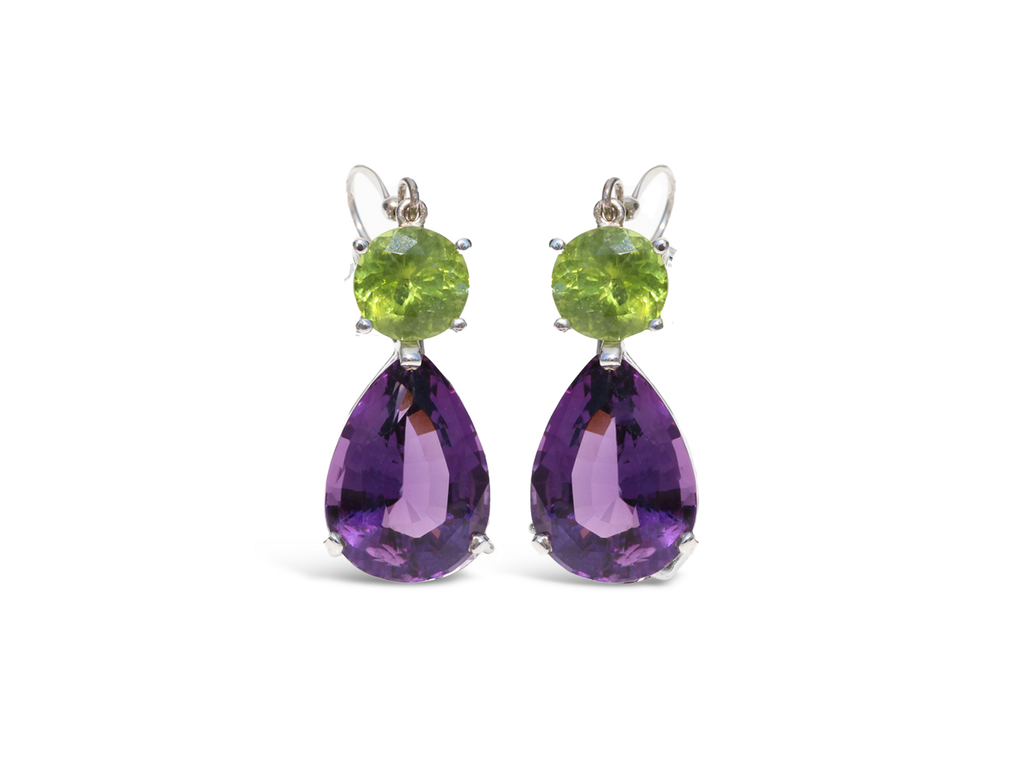 Purple Amethyst and Peridot Dangle Earrings