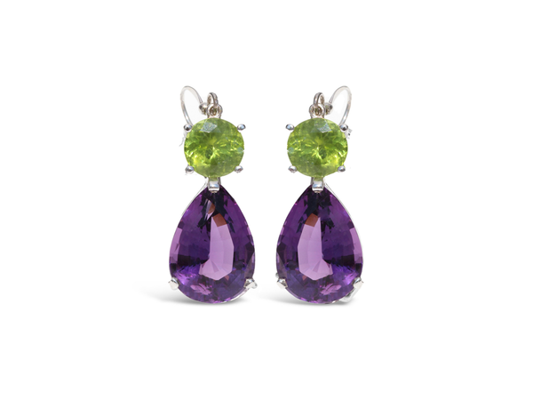 Purple Amethyst and Peridot Dangle Earrings - Finnly's