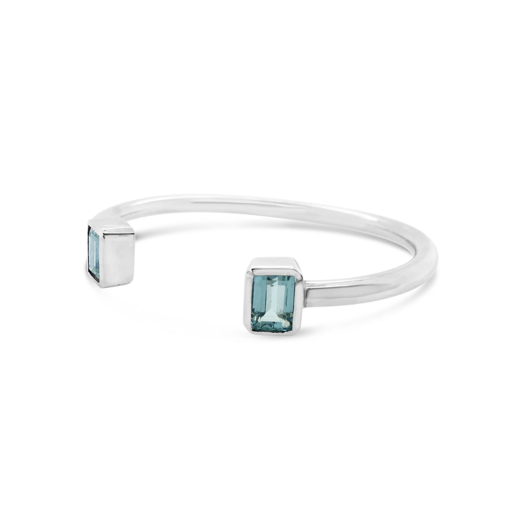 aquamarine cuff  bangle in sterling silver