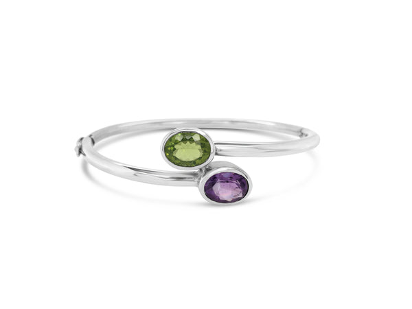 Peridot and Purple Amethyst Bangle