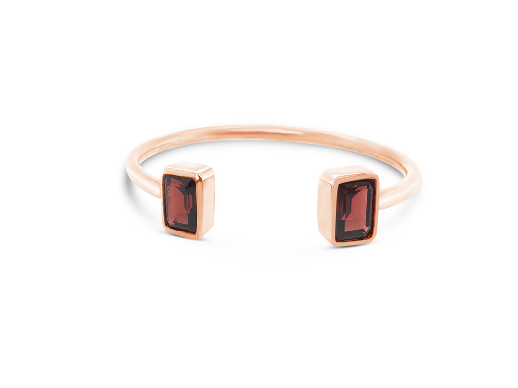 red garnet cuff bangle in sterling silver, rose gold plated
