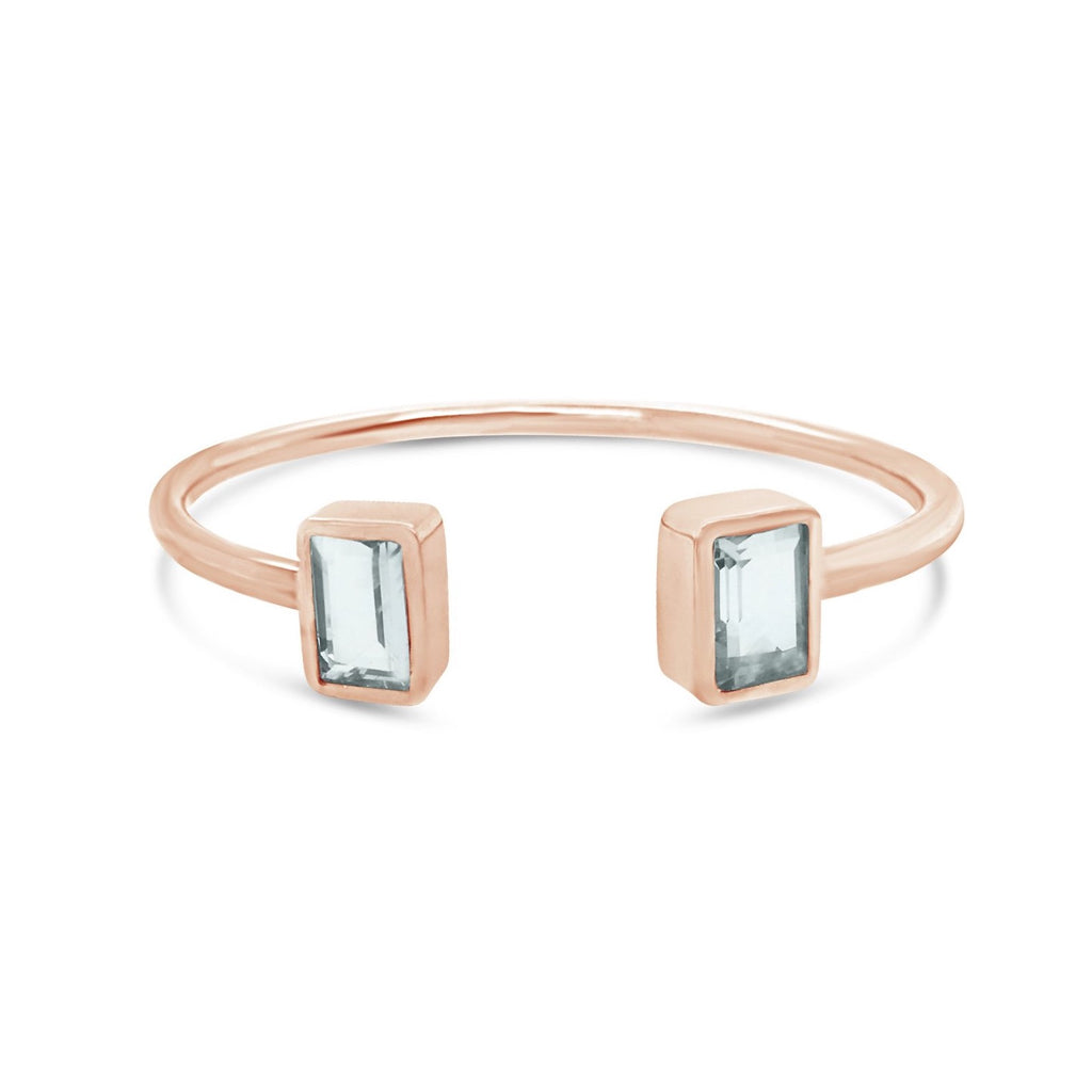aquamarine cuff  bangle in sterling silver, rose gold plated